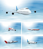 Scenes with airplane in the sky. Illustration Stock Photos