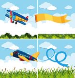 Scenes with airplanes flying in blue sky. Illustration Stock Photos