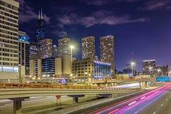 Scenes around city of CHicago Illinois at night Royalty Free Stock Photos