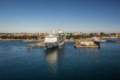 Scenes around Ogden Point cruise ship terminal in Victoria BC.Canada royalty free stock image