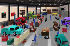 Scenes in an auto repair shop. A vector illustration of scenes in an auto repair shop Stock Photo