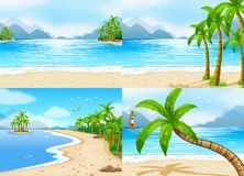 Scenes with beach and ocean. Illustration Stock Photography