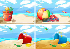 Scenes with beach and toys Royalty Free Stock Photography