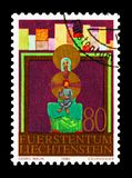 Scenes from the Bible, Christmas serie, circa 1980. MOSCOW, RUSSIA - AUGUST 18, 2018: A stamp printed in Liechtenstein shows Scenes from the Bible, Christmas stock photography
