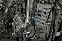 Scenes From a Bike Shop. Rear wheel cassette in show room royalty free stock photo