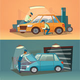 Scenes of car repair vector illustration. Workers in service tire and auto business. Cartoon garage Stock Photos