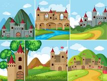 Scenes with castle towers in the mountains Stock Images