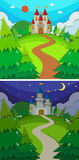 Scenes with castles in the forest day and night Stock Images