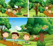 Scenes with children catching bugs in garden Stock Image
