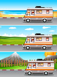 Scenes with children riding on camper van. Illustration Royalty Free Stock Image