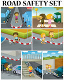 Scenes of children and road safety Royalty Free Stock Photo