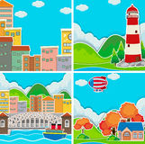Scenes from city and rural area. Illustration Royalty Free Stock Image