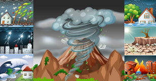 Scenes with different disasters Royalty Free Stock Photo