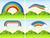 Scenes with different shapes of rainbows. Illustration Stock Images
