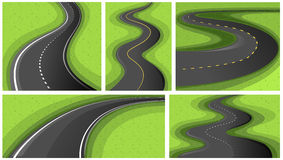 Scenes with different shapes of roads Royalty Free Stock Images