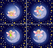 Scenes with fairy and stars. Illustration Stock Images