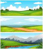 Scenes with field and road in countryside. Illustration Royalty Free Stock Images