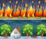 Scenes with forest fire and storm. Illustration Royalty Free Stock Photos
