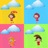 Scenes with girls in the rain Royalty Free Stock Photo
