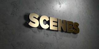 Scenes - Gold sign mounted on glossy marble wall  - 3D rendered royalty free stock illustration Royalty Free Stock Images