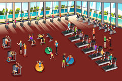 Scenes Inside a Fitness Center. A vector illustration of scenes inside a fitness center Stock Photo