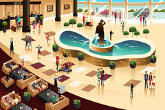 Scenes inside a hotel lobby. A vector illustration of scenes inside a hotel lobby Stock Images