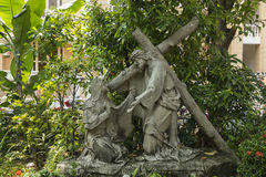 Scenes from the Jesus crucifixion. The Via Dolorosa is the journey undertaken by Jesus, starting at the place where Pilate sentenced him to death and ending on Royalty Free Stock Photos
