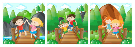 Scenes with kids on the bridge. Illustration Stock Images