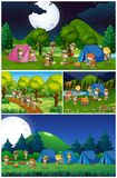 Scenes with kids camping in the park. Illustration Royalty Free Stock Photos