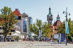 Scenes from the main promenade in Sopot. The city is a major health-spa and tourist resort destination in Poland with the longest wooden pier in Europe at 515 Royalty Free Stock Image