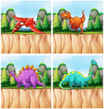 Scenes with many dinosaurs Royalty Free Stock Image