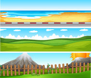 Scenes with ocean and green field. Illustration Royalty Free Stock Photography