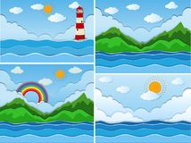 Scenes with ocean and mountains. Illustration royalty free illustration