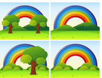 Scenes with rainbow and field. Illustration Stock Images