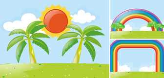Scenes with rainbow and sun in park. Illustration Stock Photography