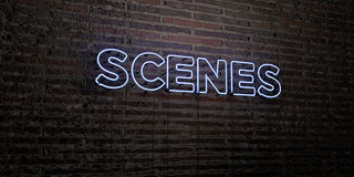 SCENES -Realistic Neon Sign on Brick Wall background - 3D rendered royalty free stock image Royalty Free Stock Photos