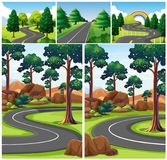 Scenes with road through the forest. Illustration Royalty Free Stock Photography