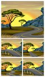 Scenes of road to countryside at sunset. Illustration Stock Photography