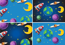 Scenes with rocket and planets vector illustration