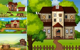 Scenes with ruined houses in the park Stock Photo