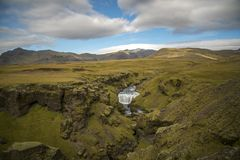 Hiking around Skogafoss. Scenes from Skogafoss and upriver Royalty Free Stock Image