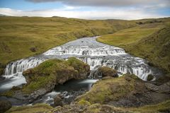 Hiking around Skogafoss. Scenes from Skogafoss and upriver Stock Image