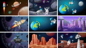 Scenes of space backgrounds. Illustration stock illustration