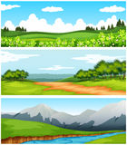 Scenes with trees and fields. Illustration Stock Photos