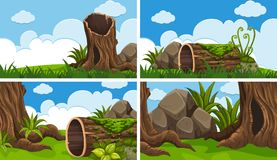 Scenes with wood and field. Illustration Royalty Free Stock Photography