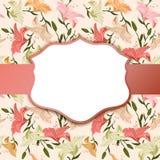 Scenetta d'annata su un fondo floreale Immagine Stock Libera da Diritti