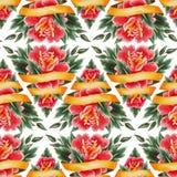 Scenetta floreale dell'acquerello Fotografia Stock