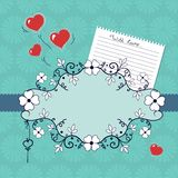 Scenetta romantica con i fiori ed i cuori Immagine Stock