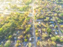 Scenic aerial view of green suburban area of Ozark, Arkansas, US. Scenic aerial green suburban area of Ozark, Arkansas, USA. Top overhead residential Royalty Free Stock Photo