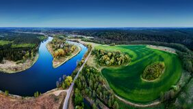 Scenic aerial landscape of river and forest